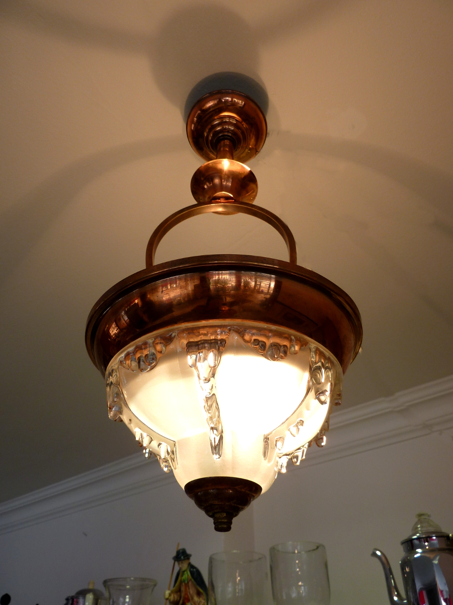 edle art deco ezan deckenlampe leuchte zapfen glas kupfer ceiling lamp france ebay. Black Bedroom Furniture Sets. Home Design Ideas