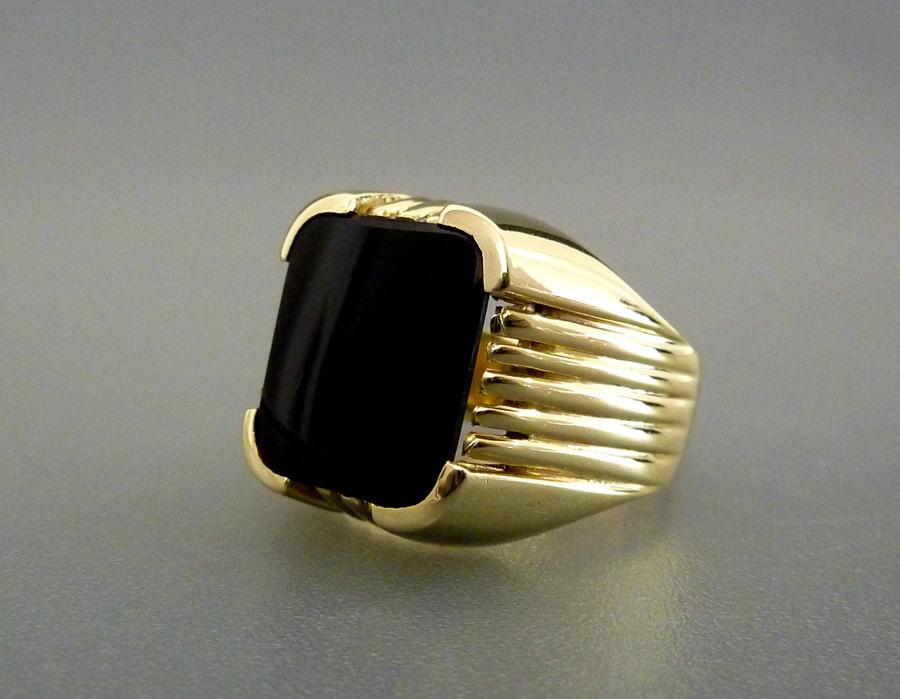 herren onyx goldring monogramm siegelring wappenring 585 14kt gelbgold gr e 59 ebay. Black Bedroom Furniture Sets. Home Design Ideas